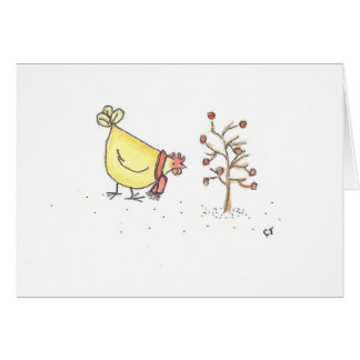 Hen And Holly Tree Card