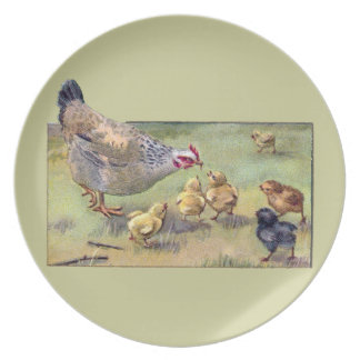 Hen and Hungry Chicks Dinner Plate