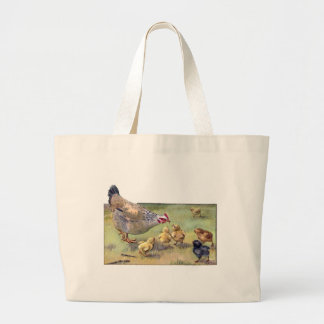 Hen and Hungry Chicks Large Tote Bag