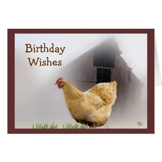 Hen and Old Barn Birthday card- any occasion Card