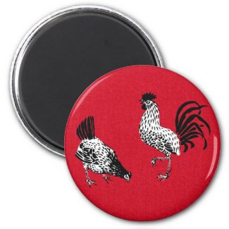 Hen and Rooster 2 Inch Round Magnet
