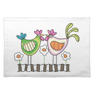 HEN AND ROOSTER CLOTH PLACE MAT