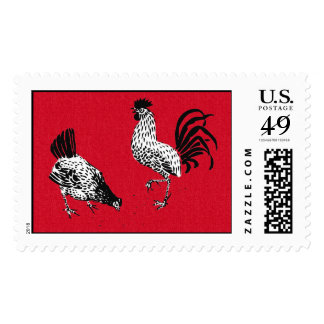 Hen and Rooster Stamp