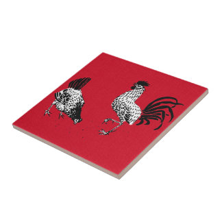Hen and Rooster Small Square Tile