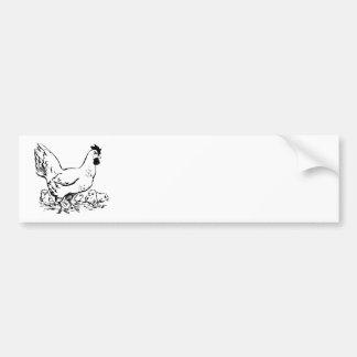 Hen & Baby Chicks Bumper Sticker