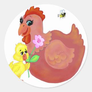 Hen & Chick Classic Round Sticker