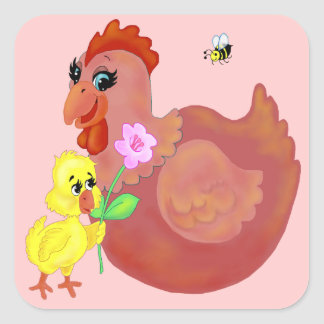 Hen & Chick Square Sticker