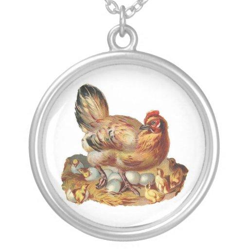 Hen Chicken Chicks & Eggs Necklace