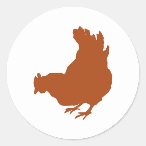Hen [chicken, farmer, organic eggs] round sticker