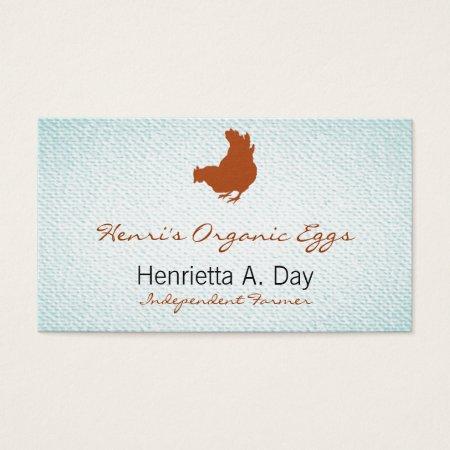 Chicken Farmer Organic Eggs Textured Light Blue Business Cards