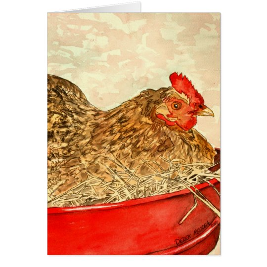 hen chicken painting art gifts card