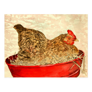 hen chicken painting art gifts postcard