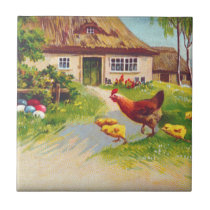 Hen, Chickens and Easter Eggs Tile