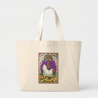 Hen, Chicks and Cross Vintage Easter Large Tote Bag