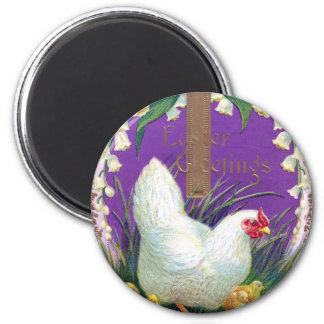 Hen, Chicks and Cross Vintage Easter Magnet