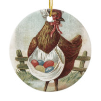 Hen Easter Colored Decorated Painted Egg Farm Ceramic Ornament