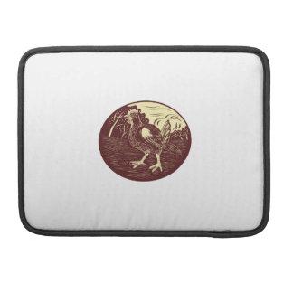 Hen Farm Oval Woodcut MacBook Pro Sleeves