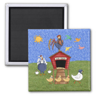 Hen House 2 Inch Square Magnet