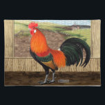 """Hen House Hero Placemat<br><div class=""""desc"""">The rooster is the boss bird in the hen house and will protect it with vigor,  he takes his job seriously!  All the chickens look up to him.</div>"""