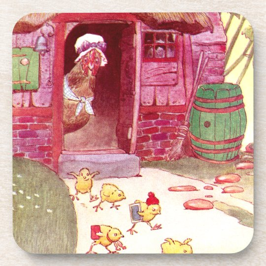 Hen in Pink House Watches Over Chicks Beverage Coaster
