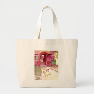 Hen in Pink House Watching Chicks Large Tote Bag