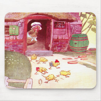 Hen in Pink House Watching Chicks Mouse Pad