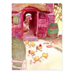 Hen in Pink House Watching Chicks Post Card