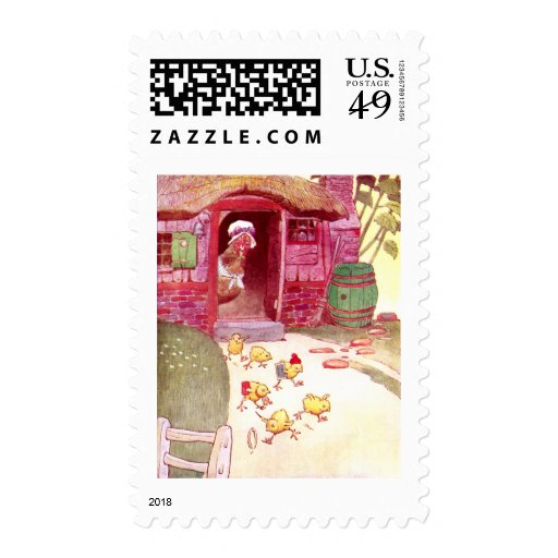 Hen in Pink House Watching Chicks Postage Stamp