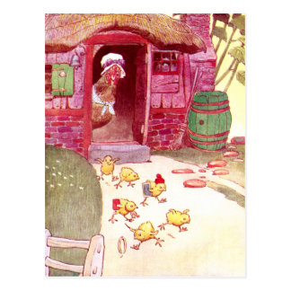 Hen in Pink House Watching Chicks Postcard