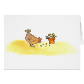 Hen In The Marigolds Card