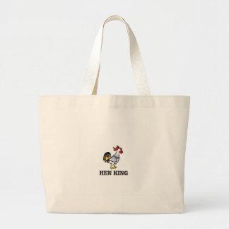 hen king rooster large tote bag