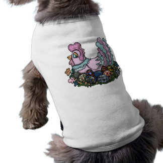 Hen Laying Easter Eggs Doggie T-shirt
