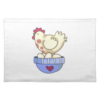 HEN ON BOWL OF EGGS CLOTH PLACE MAT