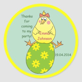 Hen on Egg Easter Party Thank You Stickers