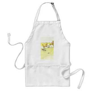 Hen Outwitting Fox with Needle and Thread Adult Apron