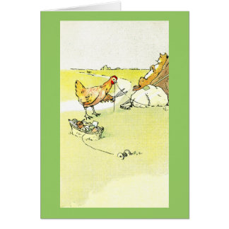 Hen Outwitting Fox with Needle and Thread Card
