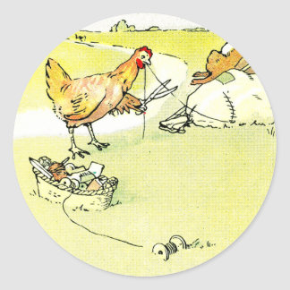 Hen Outwitting Fox with Needle and Thread Classic Round Sticker