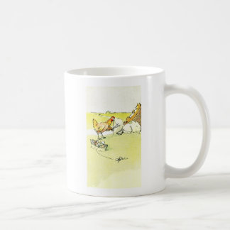 Hen Outwitting Fox with Needle and Thread Classic White Coffee Mug