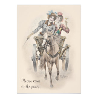 Hen party horse and cart celebration card