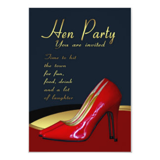 """Hen Party Invitation Card - Hen Red Shoes Invitati 5"""" X 7"""" Invitation Card"""