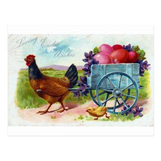 Hen pulling cart Easter Vintage Postcard