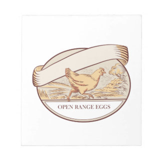 Hen Running Open Range Eggs Oval Drawing Note Pad