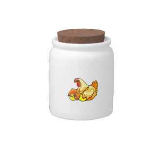 hen sideview two chicks candy dish