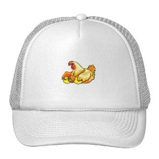 hen sideview two chicks trucker hat