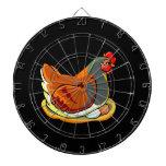 hen sitting on two eggs design dart board