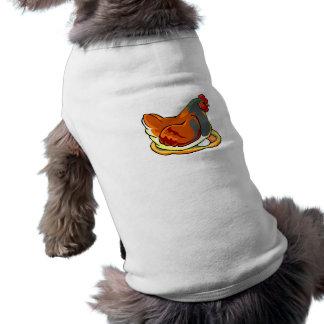 hen sitting on two eggs design doggie shirt