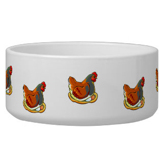 hen sitting on two eggs design dog water bowl