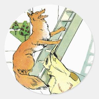 Hen Tries to Escape Fox Classic Round Sticker