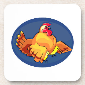 hen wings out two chicks blue oval.png beverage coaster