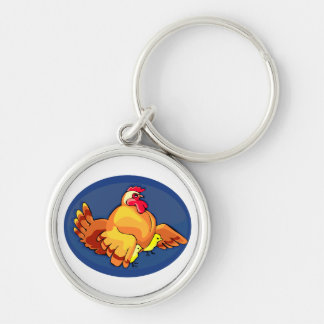 hen wings out two chicks blue oval.png keychain